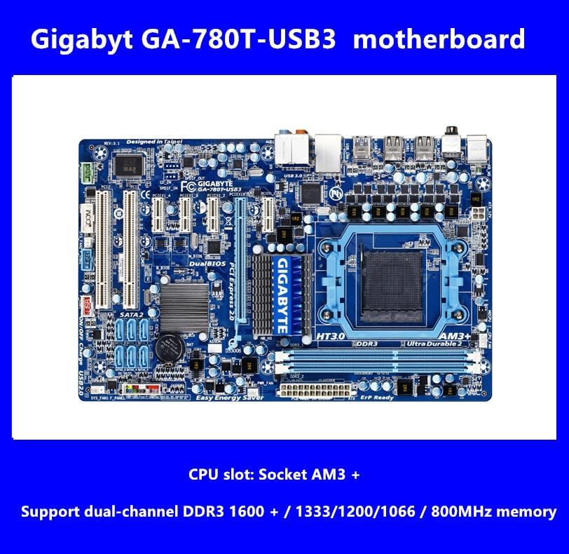 Free shipping original motherboard for Gigabyt GA-780T-USB3 DDR3 Socket AM3+ 780T-USB3 16GB USB3.0 SATA II Desktop motherboard