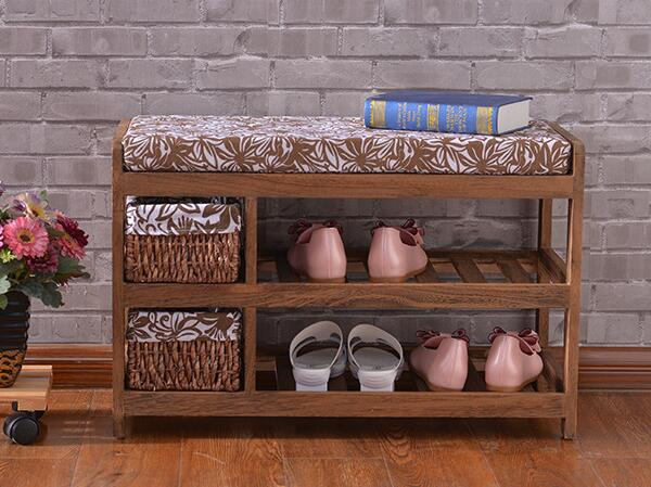 Wooden Shoe Rack With Two Storage Basket Paulownia Solid Wood Bench Living Room Furniture Japanese Style Shoe Bench Shelf Rack 50cm nature color pine solid wood shoes rack shelf storage shoe changing bench green healthy