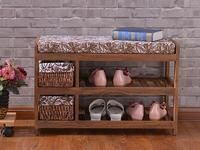 Wooden Shoe Rack With Two Storage Basket Paulownia Solid Wood Bench Living Room Furniture Japanese Style Shoe Bench Shelf Rack