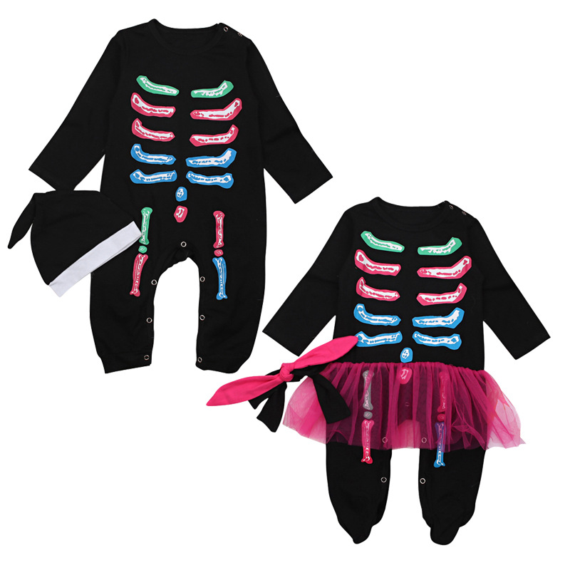 Children's European And American Spring And Autumn Halloween Boy And Girl's Halloween Bone Uniform Clothes, Climbing Clothes