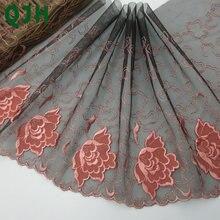 Нежный цветок двойной цвет Вышивка Кружева отделка 1 ярд diy