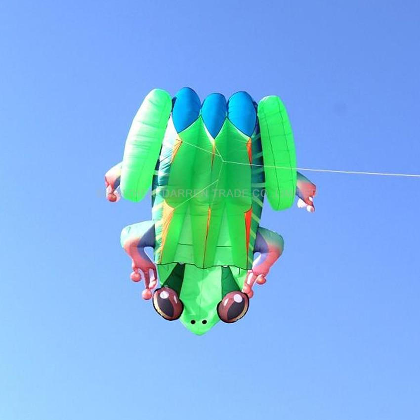 1 шт. высокое качество огромный синий/желтый задний мягкий воздушный змей «лягушка» Открытый спортивные воздушные змеи легко лететь зеленая лягушка летающая игрушка 2,4 квадратных метров - 2