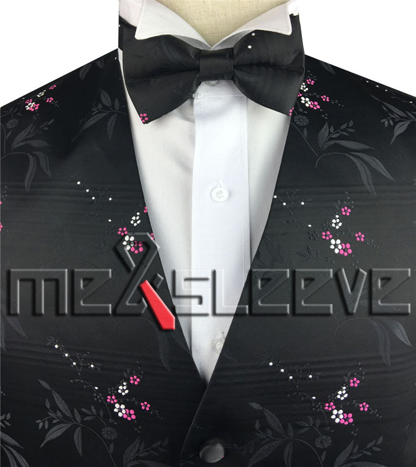 free shipping factory custom made black ground with pink and white floral mens tuxedo waistcoat set