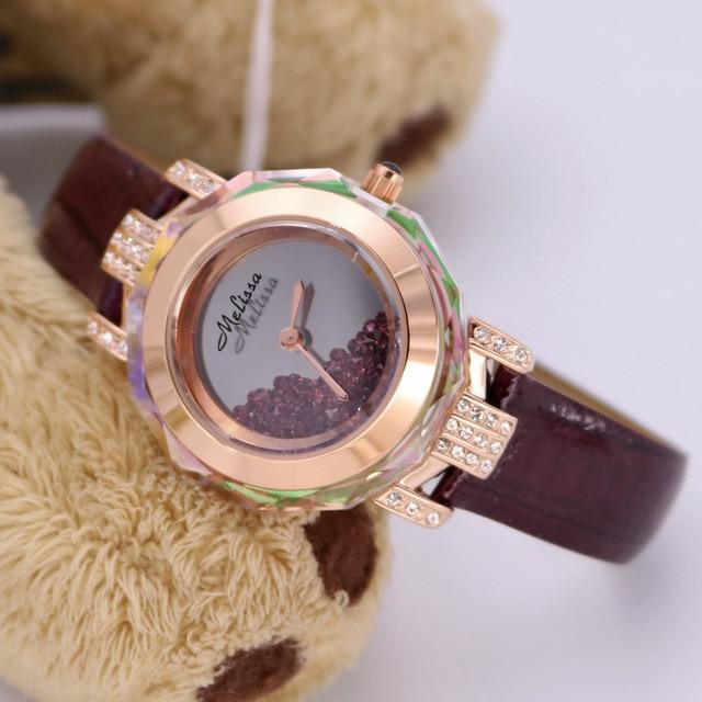 Luxury MELISSA Candy Color Leather Wristwatch Novel Moving Crystal Women Dress Watches Quartz Relogio Feminino 3ATM Montre F1580