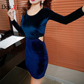 High Quality Women Package hip Dress 2017 Sexy  Autumn women Velvet Dress Hollow Out Sexy Patchwork blue Club dress