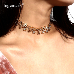 Ingemark Stylish Vintage Rhombus Choker Necklace for Women Bohemian Metallic Beads Tassel Chain Geometric Necklace Jewelry Gift