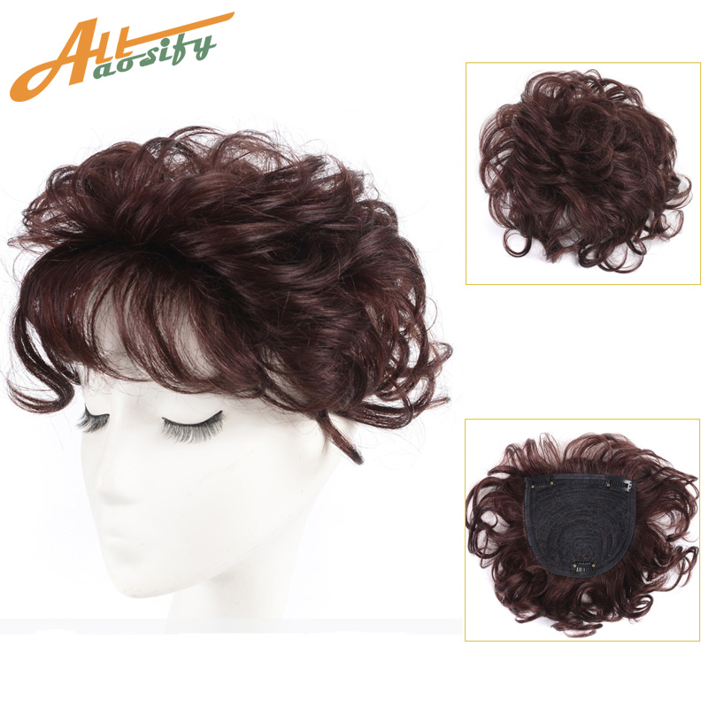 Image 2 - Allaosify Toupee with Bangs Synthetic Curly Hair Hand made Topper Hairpiece Clip In Hair Extensions Clip Ins Hair Topper PureSynthetic Clip-in One Piece   -