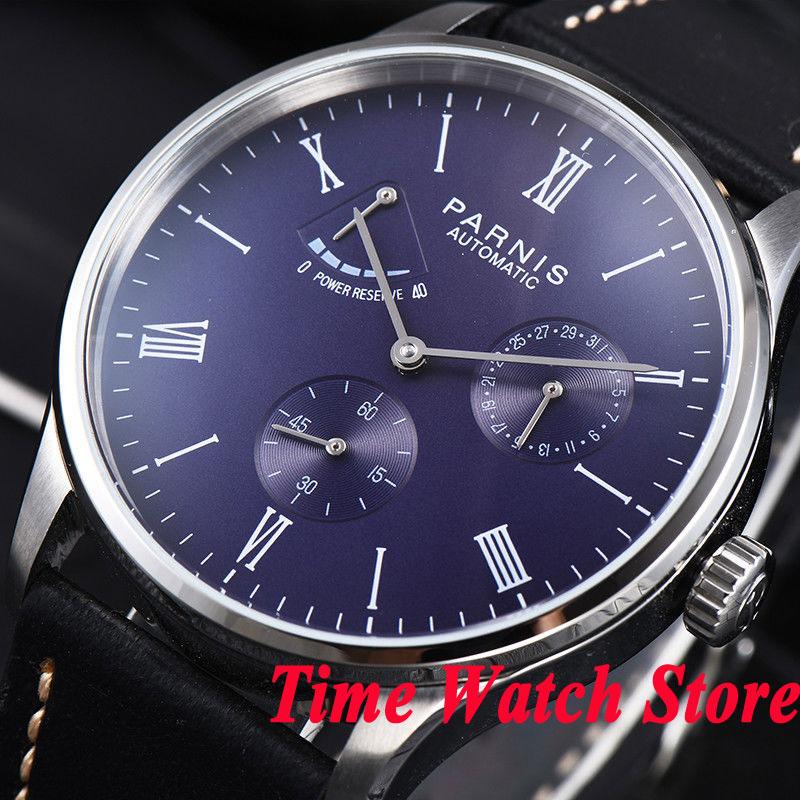 Parnis men's watch Power reserve blue dial DATE 42mm case 5ATM ST1780 Automatic movement wrist watch men 947 цена и фото