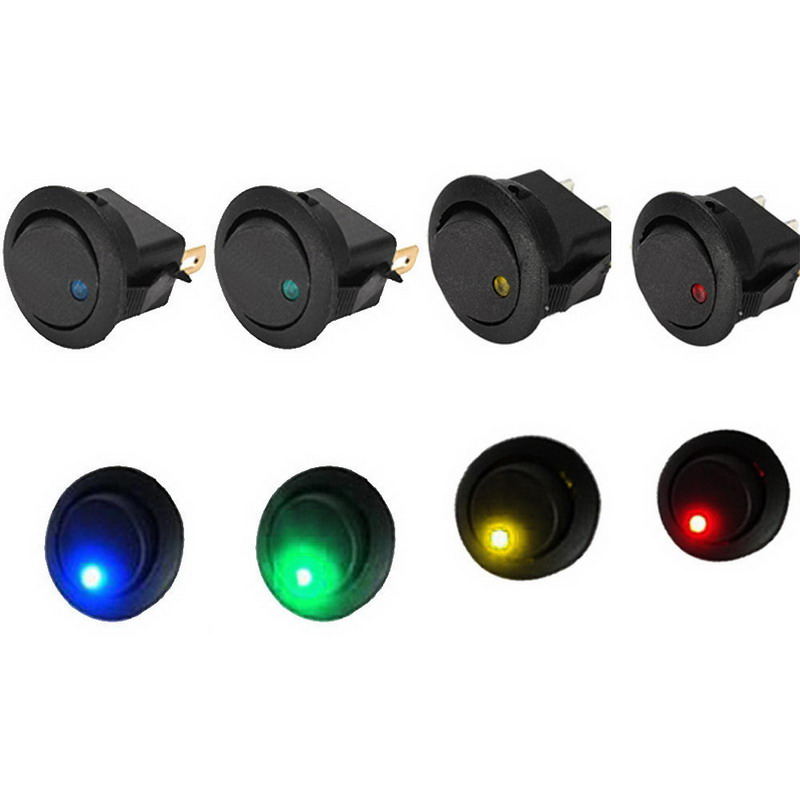 5PCS/Lot 12V LED Dot Light Car Boat Round Rocker ON/OFF SPST Switch 5pcs 2pin snap in on off kcd1 101 car boat round rocker toggle spst switch 125v