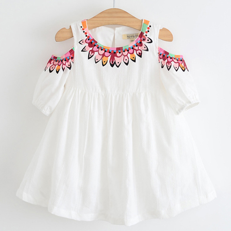 2018 Summer Brand New Girl Princess Dress Children Clothes Floral Printed Design Kids Dresses for 3-7Y Girls Clothing Dresses 2 7y princess children girls white lace dress brand new long sleeve toddler kids elegant party dresses one pieces clothing