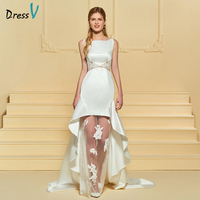 Dressv Botão Longo Do Marfim Vestido de Noiva Lace Mangas Bainha Trem Tribunal Cetim Fosco 2018 Feito Sob Encomenda Do Vestido de Casamento Vestido de Noiva