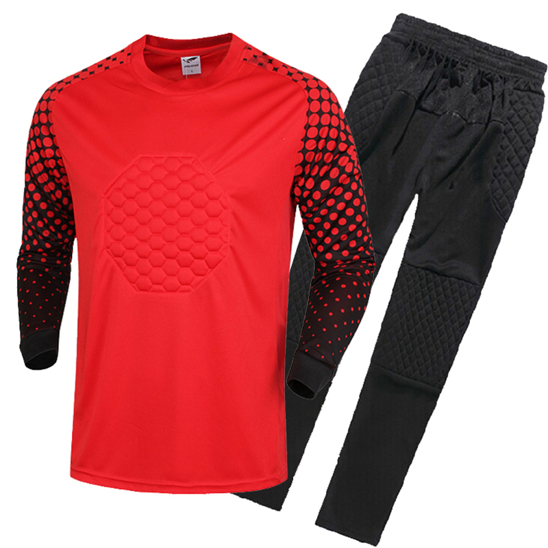 2016 17 New Kids Soccer Goalkeeper Jersey Set Men s Sponge Football Long  Sleeve Goal Keeper Uniforms Goalie Sport Training Suit-in Soccer Sets from  Sports ... 3bd27e09a