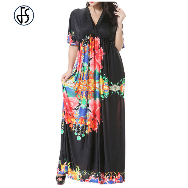 8be8086229 Moda Duże Rozmiary 6XL 7XL FS Letnia Sukienka Plus Size Maxi długa Tunika  Sukienka Luźna Casual