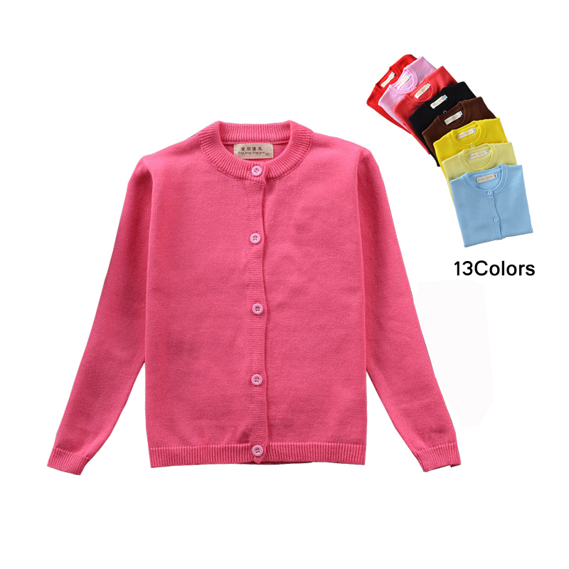 2018 Fashion Kids Cardigan Coat Baby Teens Girls Sweaters Candy Color Cotton Baby Toddler Girls Single-breasted Jacket Outerwear