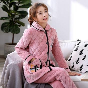 Pajama Sets Women Turn-down Pockets Leisure Printing Flannel Warm Pajamas Womens Korean Winter 2 Pieces Homewear Trendy Chic