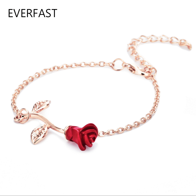 1pc 2016 New Simple Red Rose Bracelet Silver Gold Color Women Charm Link Chain Fashion Jewelry Carter Love Plant Bracelets