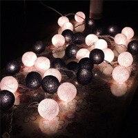 Black White Thailand Lights Handmade Cotton Balls Lights For Christmas Luces De Navidad Wedding Garden Patio