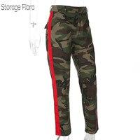 Storage Flora 2018 Women Camouflage Print Ribbon Patchwork Pants Female High Waist Stretch Cotton Pants Military Trousers