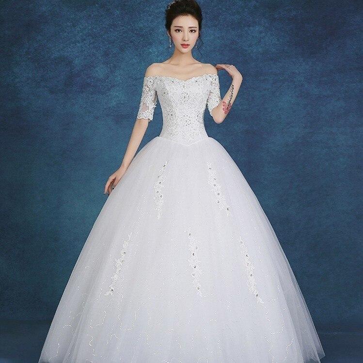 Vestido De Noiva Elegant Wedding Dresses Off The Shoulder Ball Gown V-Neck Appliques Crystal Lace Bride Dresses Tulle Mariage