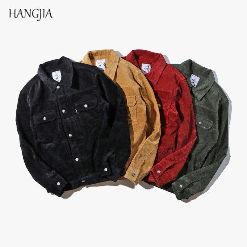 Hommes couleur unie velours côtelé veste 2018 automne et hiver haute rue marée mâle BF rétro lavage multi-poches lâche vestes vêtements