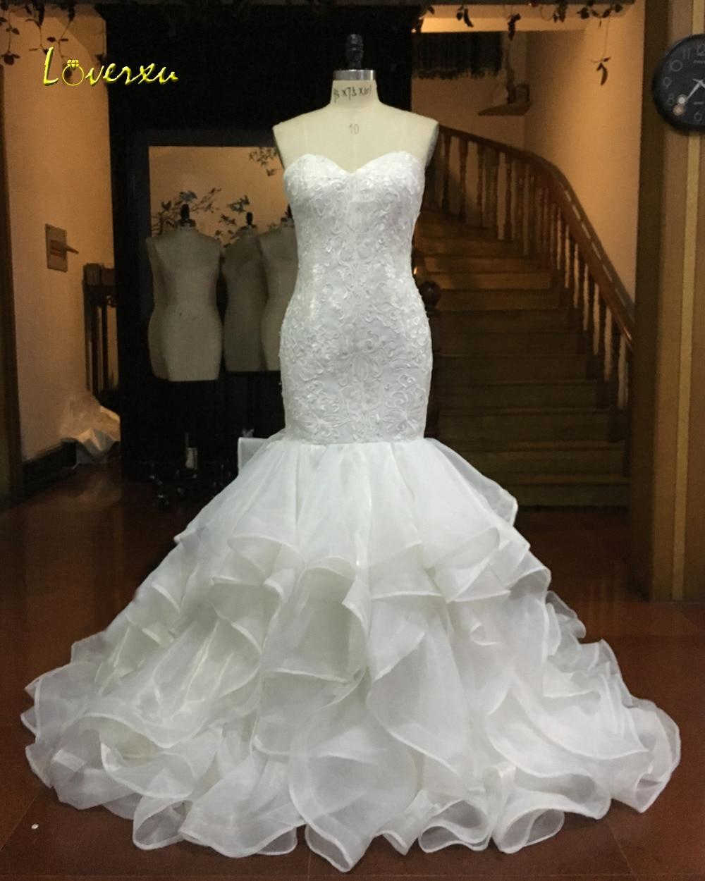 Loverxu Vestido De Noiva Strapless Ruffles Mermaid Wedding Dresses 2017 Sexy Backless Appliques China Bride Gown Plus Size