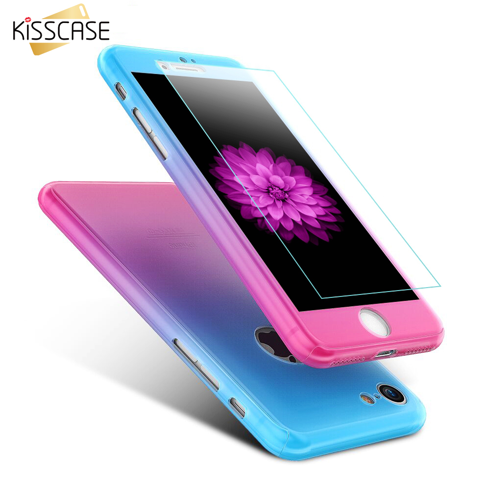 KISSCASE For iPhone 6 Case iPhone 6S 6 Plus Cover 360 Degree Full Body Cases + Tempered Glass For iPhone 7 Plus Case Accessories