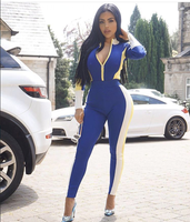 High Quality Sexy Women Jumpsuit Sequined V Neck Rayon Bandage Straight Full Casual Jumpsuit Hot Sale