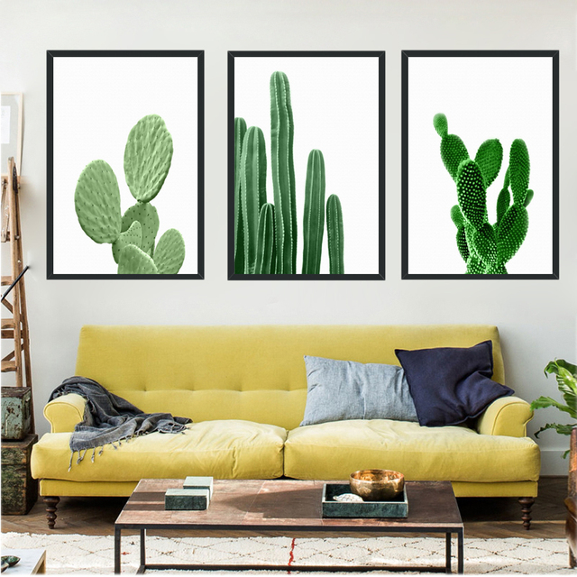 Posters Natural Green Cactus Wall Art Canvas Painting Wall Pictures ...