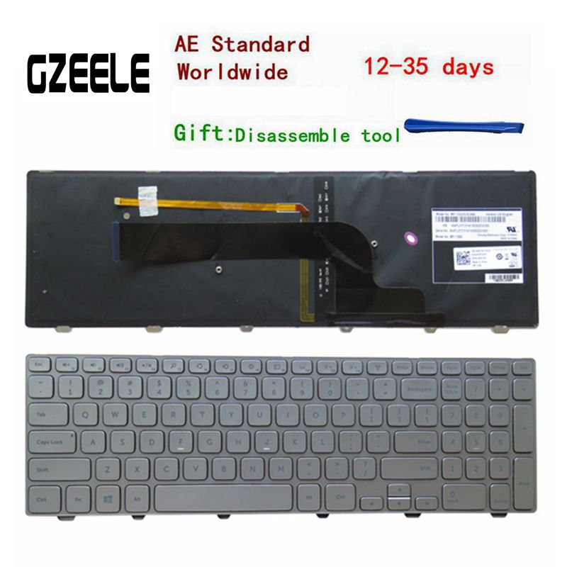 English Keyboard for Dell Inspiron 15-7000 15 7537 7737 15HR 2525s 2528s series US Keyboard Backlit with SILVER FRAME backlit us new laptop keyboard for dell inspiron 15 7537 7000 p36f 7537 sliver