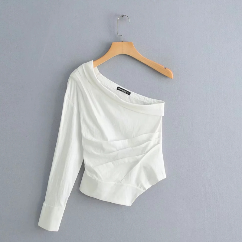 Asymmetric Women Pleated Shirt Casual White Long Sleeve Blouse Summer Style Skew Collar Chic Tops Streetwear Chemise S5526