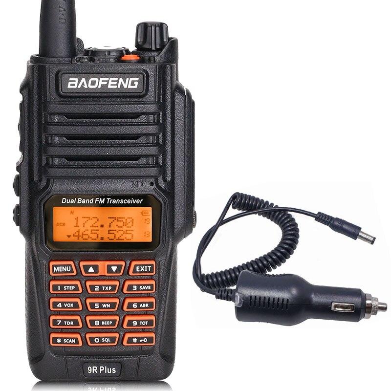BaoFeng UV-9R Plus Водонепроницаемая портативная рация 8 Вт UHF VHF Двухдиапазонный IP67 HF трансивер UV 9R Ham портативное радио - Цвет: add car charger