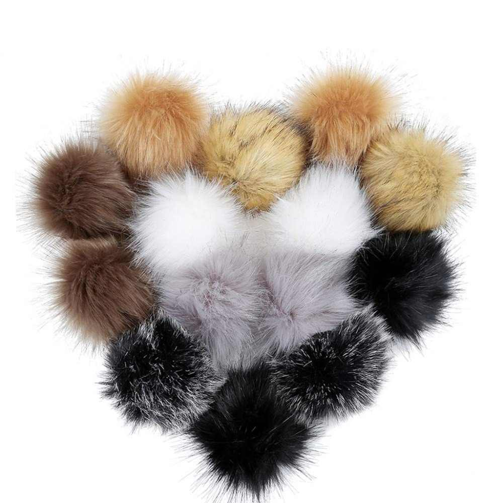 14 cái TỰ LÀM Faux Fur Fluffy Pompom Bóng cho Mũ Giày Chiếc Khăn Móc Khóa Túi Quyến Rũ Đẹp Nhân Tạo Bóng Tóc s006