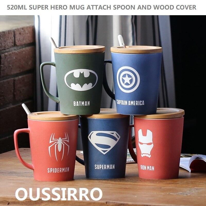 OUSSIRRO Super Hero Avenger Justice League Unendlichkeit Tassen Mit Abdeckung und Löffel Reine Farbe Tassen Tasse Küche Werkzeug Geschenk
