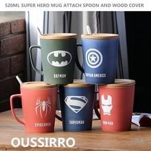 OUSSIRRO 슈퍼 영웅 복수 자 사법 리그 인피니티 전쟁 머그잔 나무 커버와 스푼 순수 컬러 머그잔 컵 주방 도구 선물