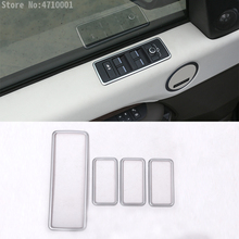 4pcs ABS Chrome Car Window Lift Switch Button Frame Cover Trim For Land Rover Discovery 5 LR5 2017 Car-styling Auto Accessory цена в Москве и Питере