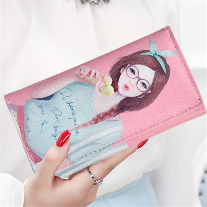 Fashion Women Wallets Lovely Girls Long Lady Hasp Coin Purse Wristlet Handbag Woman Clutch Purses Cards Holder Wallet Money Bags 2017 fashion brand new lovely flower print canvas hasp coin purses small for women wallets clutch bag women purse free shipping