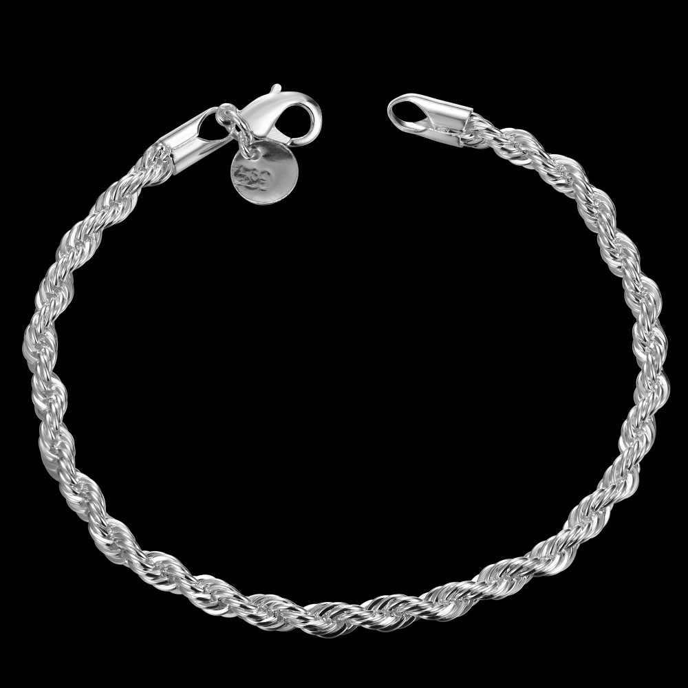 Czyste srebro 925 bransoletki dla kobiet mężczyzn 4mm Twisted Chain bransoletka i bransoletki nadgarstek biżuteria ślubna dla nowożeńców Pulseira