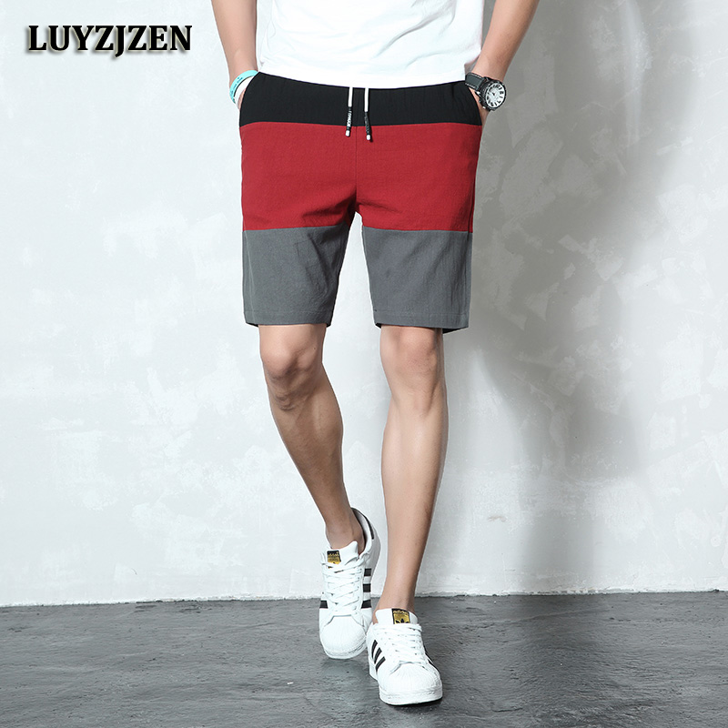 New Brand Casual Shorts Men Elastic Waist Summer Beach Cotton Linen Bermuda Knee Length Fashion Breathable Shorts Quick Dry K40