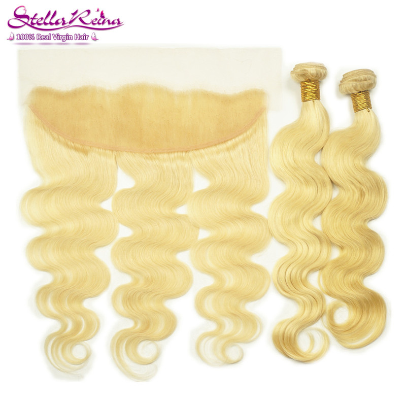 #613 Bleached Blonde Brazilian Body Wave Weaves 2 Bundles With Lace Frontal 13x4 lace Front Closure Remy Human Hair Extension