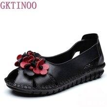 Новое поступление цветы ручной работы Летняя женская обувь натуральная кожа повседневная без шнуровки сандалии на плоской подошве женские туфли с открытым носком летние босоножки