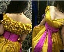 2017 Prom Kleider Neue Ankunft Preiswerte Elegante Dubai Saudi-arabien Gelb V-ausschnitt Satin Formale Party Kleider robes de bal