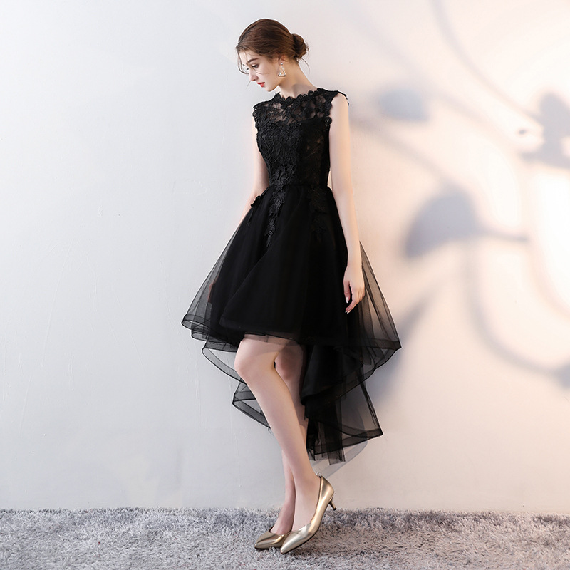 8ac29a9735784 Aliexpress.com : Buy It's YiiYa O Neck Sleeveless Asymmetrical Dinner Party  Formal Dresses Embroidery Tea Length Little Black Prom Dress LX094 from ...