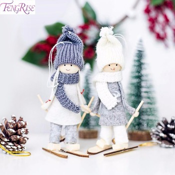 FengRise Cute Angel Doll Girl Ski Pendant Christmas Tree Decorations for Home Wooden Ornaments Xmas Gift Kids