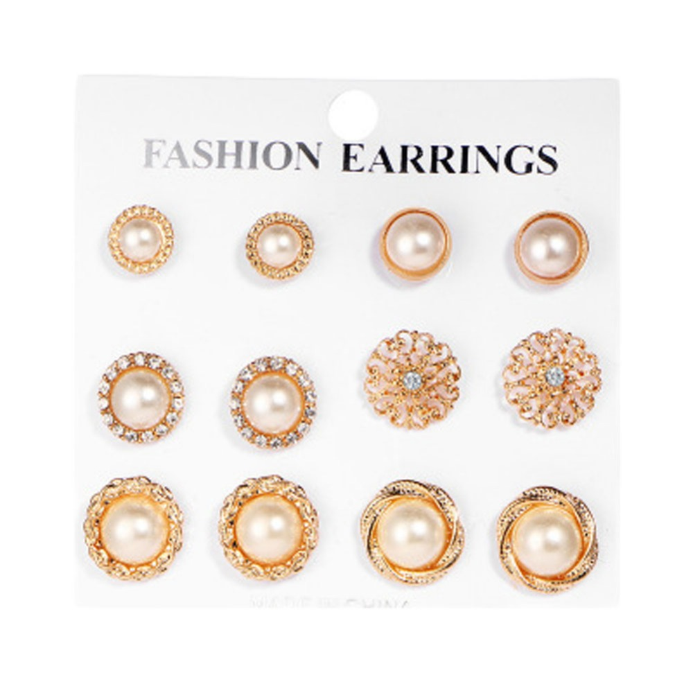 Six Pairs ! Charming Flower Imitation Pearl Ear Nail Suite Gold Color Earrings