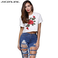 JYConline Embroidery T Shirt Women Short Sleeve Female Tops Rose Tee Shirt Femme Hole Cropped Top