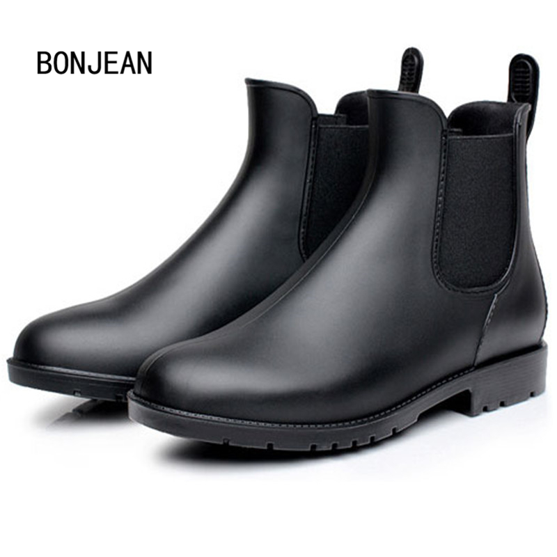 Rubber Boots Waterproof Shoes Trendy Jelly Shoes Water Boots Women Ankle Rain Boots Elastic Band Solid Color Rainy Shoes Women fashion waterproof chelsea rain boots women ankle rubber jelly shoes botas elastic band rainy shoes red black