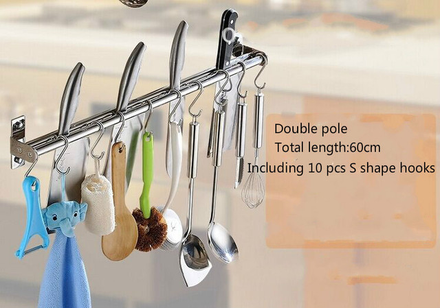 Gratis Pengiriman 304 Stainless Steel Dinding Rak Kait Multifungsi