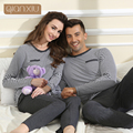 Qianxiu Pajamas Women Casual Sleepwear  Round Neck  Long Sleeve Knitted  Pajama Set  Men Lounge Wear