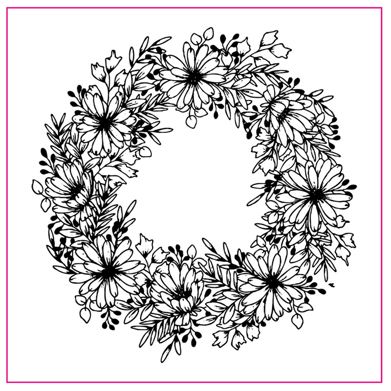 Flower Wreath Ring Pattern Silicone Stamp Rubber Seal Transparent Clear For Scrapbook Album Embossing Decor DIY Crafts 10 in Stamps from Home Garden