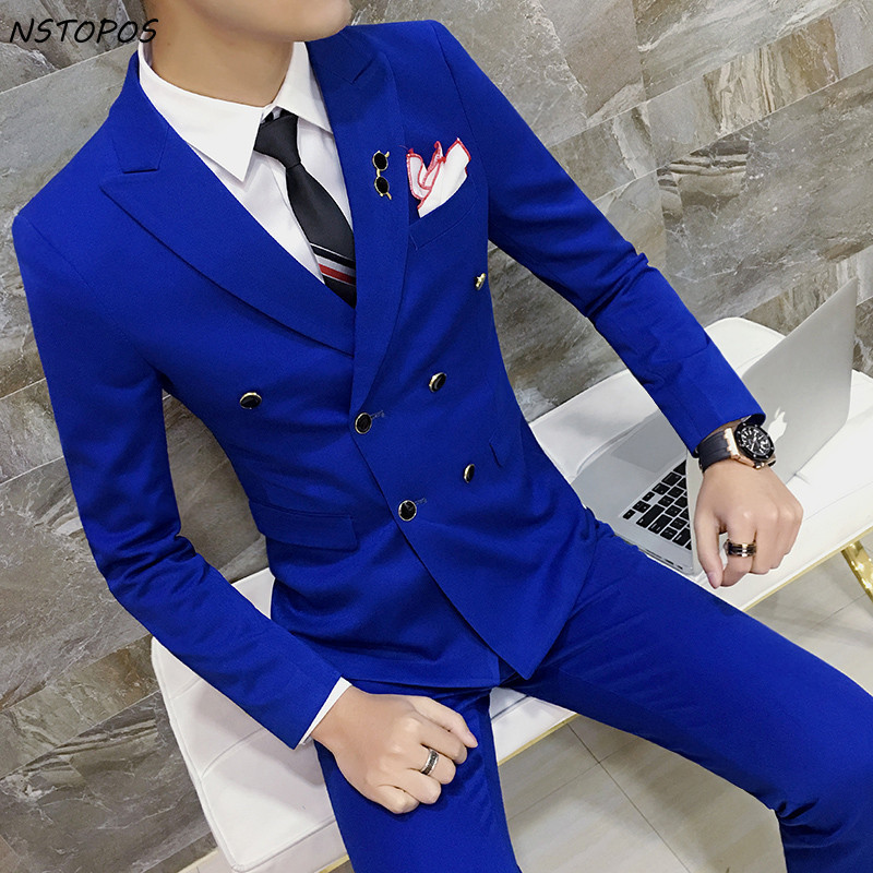 Royal Blue Double Breasted Suit Plus Size 3xl 4XL Solid Color Red Yellow Black Orange Grey Wedding Suit Costume Bridegroom Suit